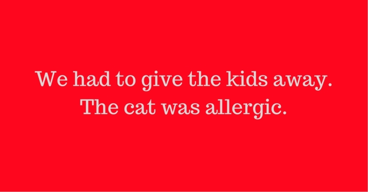 We had to give the kids away. The cat was allergic.